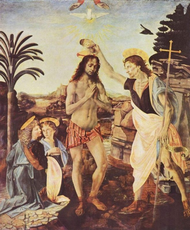 Крещение - Леонардо да Винчи Andrea del Verrocchio [Public domain or Public domain], via Wikimedia Commons https://commons.wikimedia.org/wiki/File%3ALeonardo_da_Vinci_016.jpg