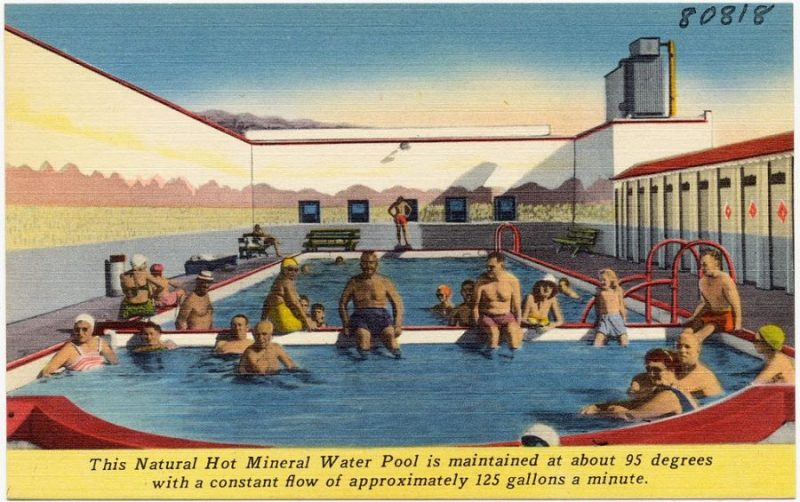Минеральная вода By Tichnor Brothers, Publisher [Public domain], via Wikimedia Commons https://commons.wikimedia.org/wiki/File%3AThis_Natural_Hot_Mineral_Water_Pool_is_maintained_at_about_95_degrees_with_a_constant_flow_of_approximately_125_gallons_a_minute_(80818).jpg